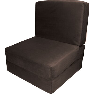 Bator Convertible Chair Upholstery: Suede Chocolate Brown