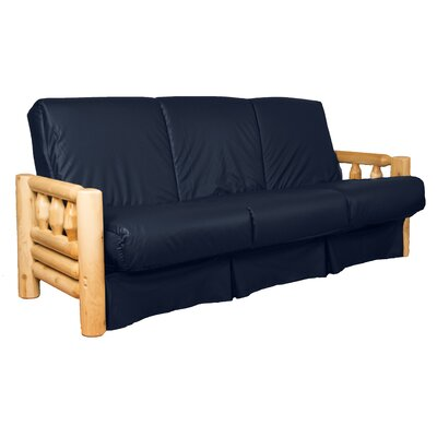 Grand Teton Futon and Mattress Upholstery: Leather Look Navy, Size: Full