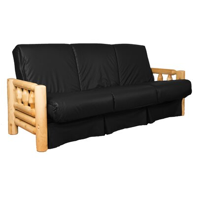 Grand Teton Futon and Mattress Upholstery: Leather Look Black, Size: Queen