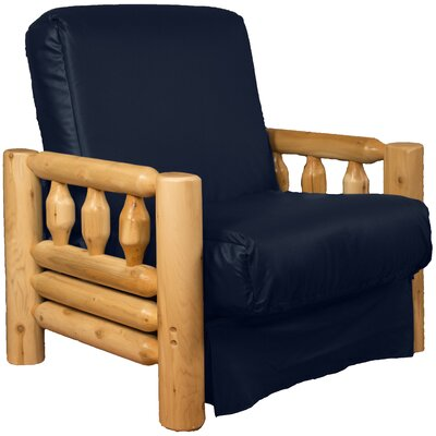 Grand Teton Futon Chair Upholstery: Leather Look Navy