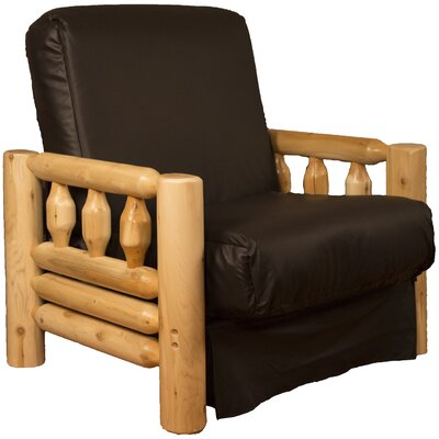 Grand Teton Futon Chair Upholstery: Leather Look Brown