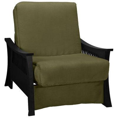 Beijing Futon Chair Upholstery: Olive Green, Frame Finish: Black