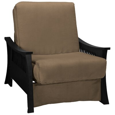 Beijing Futon Chair Upholstery: Mocha Brown, Frame Finish: Black