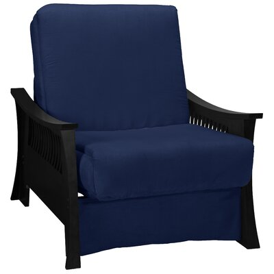 Beijing Futon Chair Upholstery: Dark Blue, Frame Finish: Black