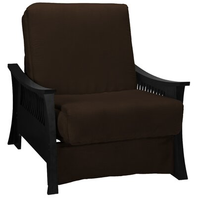 Beijing Futon Chair Upholstery: Chocolate Brown, Frame Finish: Black