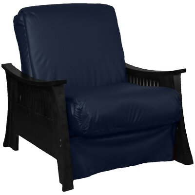 Beijing Futon Chair Upholstery: Navy, Frame Finish: Black