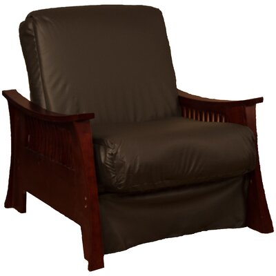 Beijing Futon Chair Upholstery: Brown, Frame Finish: Mahogany