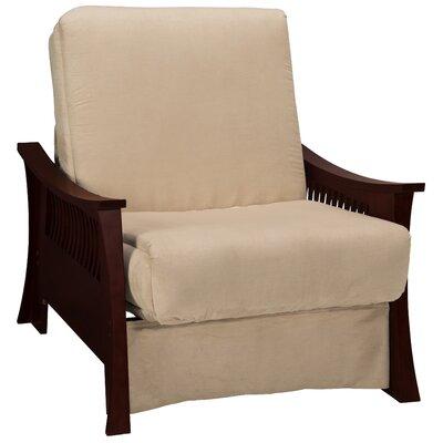 Beijing Futon Chair Upholstery: Khaki, Frame Finish: Mahogany