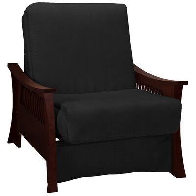 Beijing Futon Chair Upholstery: Ebony Black, Frame Finish: Mahogany