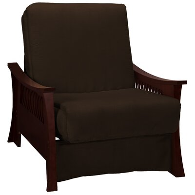 Beijing Futon Chair Upholstery: Chocolate Brown, Frame Finish: Mahogany