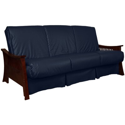 Beijing Perfect Sit N Sleep Futon and Mattress Finish: Mahogany, Upholstery: Navy, Size: Queen