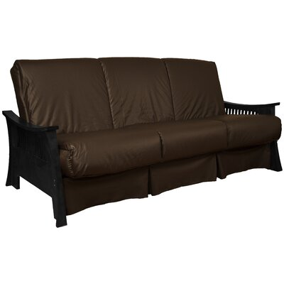 Beijing Perfect Sit N Sleep Futon and Mattress Finish: Black, Upholstery: Brown, Size: Queen