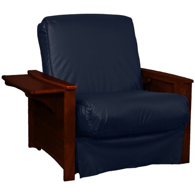 Valet Perfect Sit and Sleep Futon Chair Finish: Mahogany, Leather Type: Faux Leather - Navy