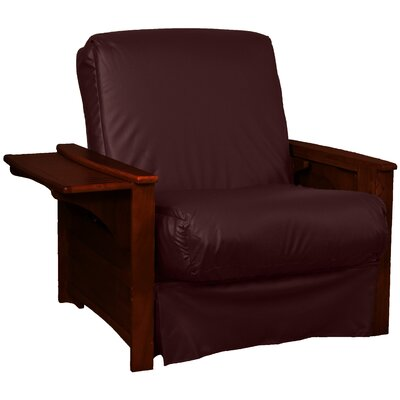 Valet Perfect Sit and Sleep Futon Chair Leather Type: Faux Leather - Bordeaux, Finish: Mahogany
