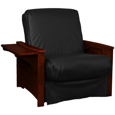 Valet Perfect Sit and Sleep Futon Chair Finish: Mahogany, Leather Type: Faux Leather - Black