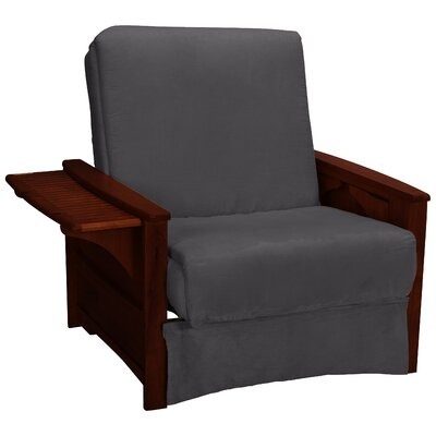 Valet Perfect Sit and Sleep Futon Chair Finish: Mahogany, Upholstery: Suede - Slate Grey