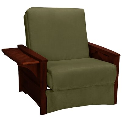 Valet Perfect Sit and Sleep Futon Chair Finish: Mahogany, Upholstery: Suede - Olive Green