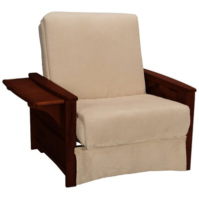Valet Perfect Sit and Sleep Futon Chair Finish: Mahogany, Upholstery: Suede - Khaki