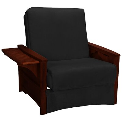 Valet Perfect Sit and Sleep Futon Chair Finish: Mahogany, Upholstery: Suede - Ebony Black