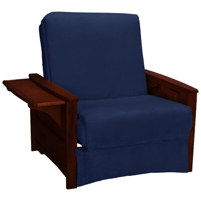 Valet Perfect Sit and Sleep Futon Chair Upholstery: Suede - Dark Blue, Finish: Mahogany