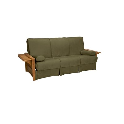 Valet Perfect Sit and Sleep Futon and Mattress Upholstery: Suede - Olive Green, Size: Queen, Finish: Medium Oak