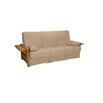 Valet Perfect Sit and Sleep Futon and Mattress Upholstery: Suede - Khaki, Size: Queen, Finish: Medium Oak