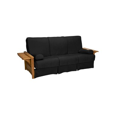 Valet Perfect Sit and Sleep Futon and Mattress Size: Full, Finish: Medium Oak, Upholstery: Suede - Ebony Black