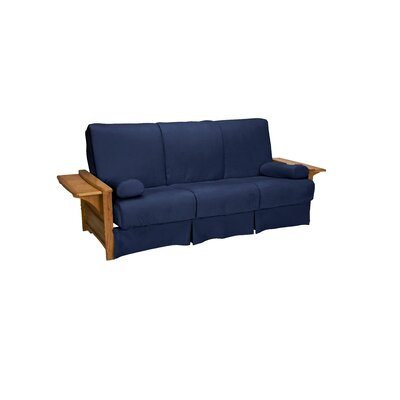 Valet Perfect Sit and Sleep Futon and Mattress Size: Queen, Finish: Medium Oak, Upholstery: Suede - Dark Blue