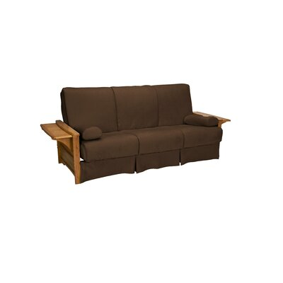 Valet Perfect Sit and Sleep Futon and Mattress Size: Full, Finish: Medium Oak, Upholstery: Suede - Chocolate Brown