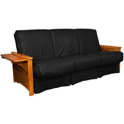 Valet Perfect Sit and Sleep Futon and Mattress Size: Full, Finish: Medium Oak, Leather Type: Faux Leather - Black