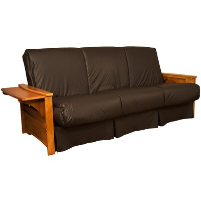 Valet Perfect Sit and Sleep Futon and Mattress Size: Full, Finish: Medium Oak, Leather Type: Faux Leather - Brown