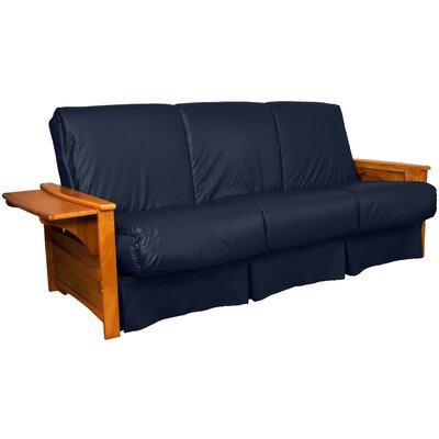 Valet Perfect Sit and Sleep Futon and Mattress Size: Full, Finish: Medium Oak, Leather Type: Faux Leather - Navy