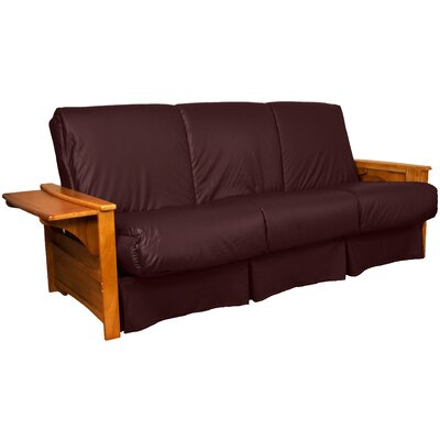 Valet Perfect Sit and Sleep Futon and Mattress Size: Queen, Finish: Medium Oak, Leather Type: Faux Leather - Bordeaux