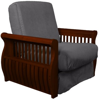 Concord Futon Chair Finish: Mahogany, Upholstery: Slate Gray