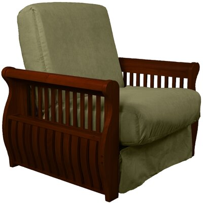 Concord Futon Chair Finish: Mahogany, Upholstery: Olive Green
