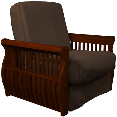 Concord Futon Chair Finish: Mahogany, Upholstery: Chocolate Brown