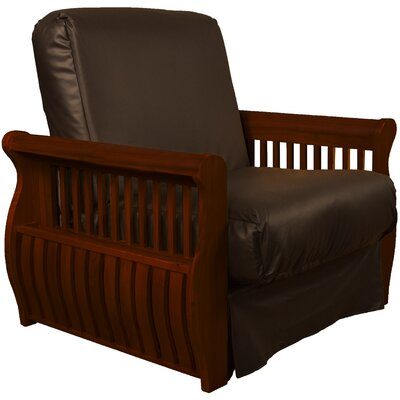 Concord Futon Chair Upholstery: Brown, Finish: Mahogany