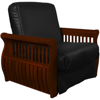Concord Futon Chair Upholstery: Black, Finish: Mahogany