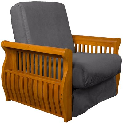 Concord Futon Chair Finish: Medium Oak, Upholstery: Slate Gray