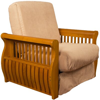 Concord Futon Chair Finish: Medium Oak, Upholstery: Khaki