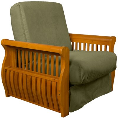 Concord Futon Chair Upholstery: Olive Green, Finish: Medium Oak