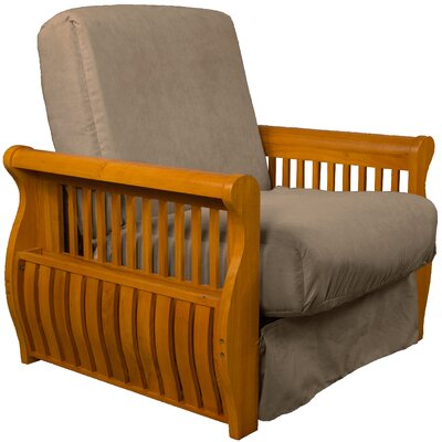 Concord Futon Chair Finish: Medium Oak, Upholstery: Mocha Brown