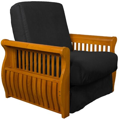 Concord Futon Chair Finish: Medium Oak, Upholstery: Ebony Black
