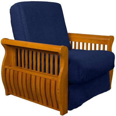 Concord Futon Chair Upholstery: Dark Blue, Finish: Medium Oak