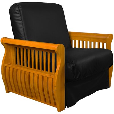 Concord Futon Chair Finish: Medium Oak, Upholstery: Black