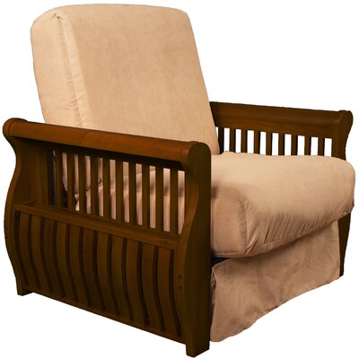 Concord Futon Chair Finish: Walnut, Upholstery: Khaki