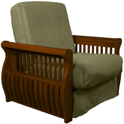 Concord Futon Chair Finish: Walnut, Upholstery: Olive Green