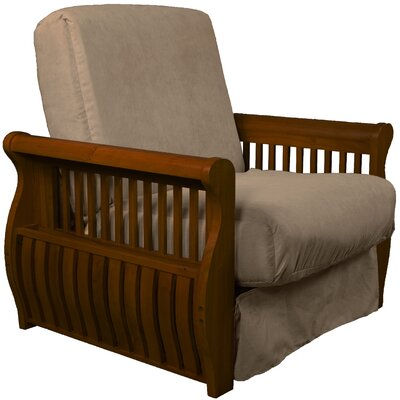 Concord Futon Chair Finish: Walnut, Upholstery: Mocha Brown