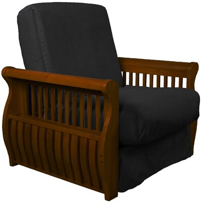 Concord Futon Chair Upholstery: Ebony Black, Finish: Walnut