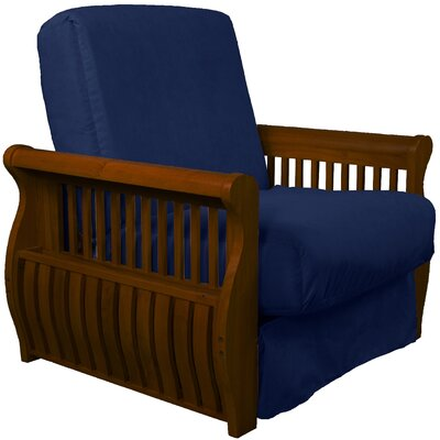 Concord Futon Chair Upholstery: Dark Blue, Finish: Walnut